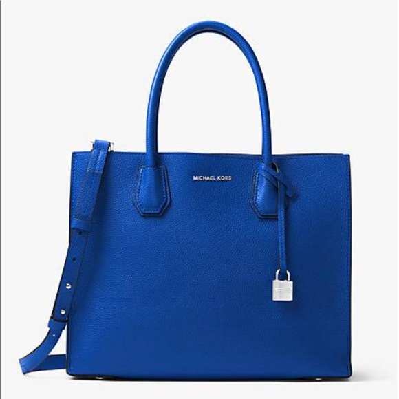 5d3e536cc9 MK Mercer Large Bonded Leather Tote Electric Blue NWT